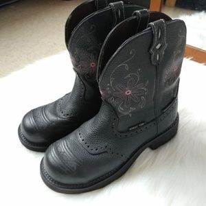 Like New JUSTIN Leather Steel Toe Work Boots